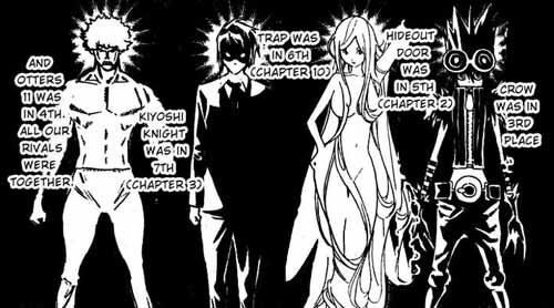 """Estes são os personagens dos mangakás rivais de Bakuman (o do meio é o do Ashirogi Muto e o do canto é o """"Naruto"""" de Bakuman)"""
