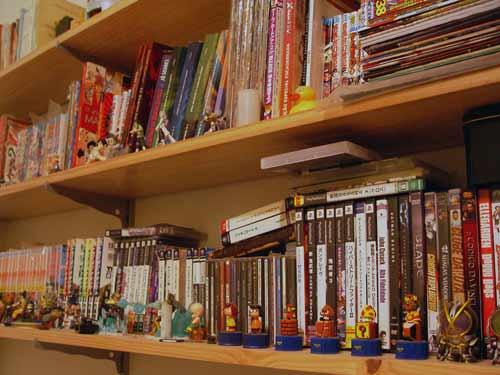 Um pedacinho da minha coleção de mangás, games, filmes e figures