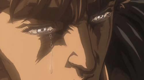 Kenshiro é o único que chora e não é chamado de emo. Aliás, quem seria louco o suficiente para arriscar?
