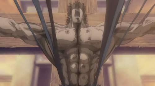 Técnica de rasgar a camiseta com a expansão muscular. Só o Hokuto Shinken ensina!